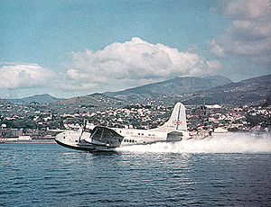 Short Solent G-AKNU taking off from Funchal Original Photo © J Arthur Dixon, via Wikipedia