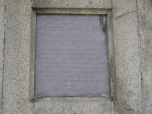 Adam Clarke Obelisk Plaque © Copyright Willie Duffin and licensed for reuse under Creative Commons Licence