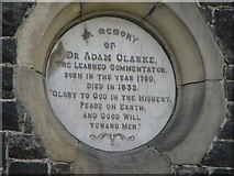 Adam Clarke Plaque © Copyright Willie Duffin and licensed for reuse under Creative Commons Licence