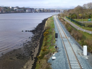 Single Track replaced alongside Lough Foyle (viewed from Peace Bridge)