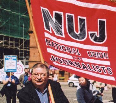 Martin O'Hagan at Belfast May Day March: Photo © Kevin Cooper