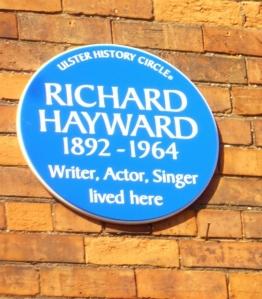 Richard Hayward Blue Plaque, Antrim Road Belfast