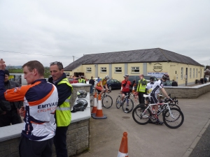 Cyclists leaving Tydavnet community centre