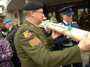 Sgt Liam Bellew helps prepare the DF pilgrimage candle