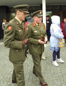 Brigadier Michael Finn (right) joins parade to shrine at Lourdes