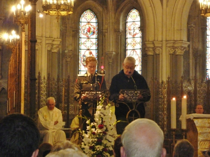 An Army Cadet & Brig. General Carl Dodd read out names on the UN Roll of Honour during Mass in Upper Basilica