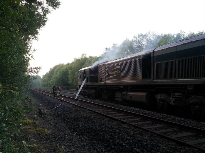 Fire on board Enterprise locomotive: Photo: PSNI Newry & Mourne via Facebook