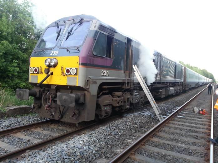 Train loco on fire: Photo PSNI Newry & Mourne via facebook