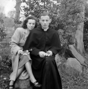 Fr Harry Smyth CM & his sister at time of ordination