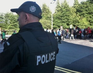 Police lined the route of the G8 protest march