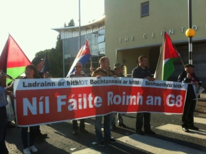 Anti-G8 Protestors: telling the leaders they are not welcome in Fermanagh