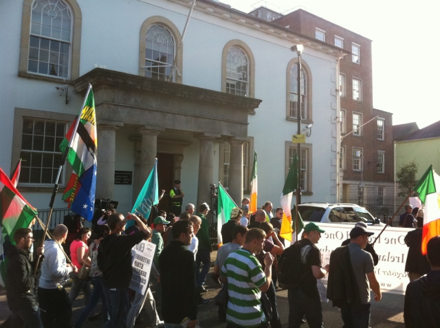 "IRPWA protestors pass Enniskillen courthouse: their placards called for the release of Martin Corey and an end to ""selective internment"""