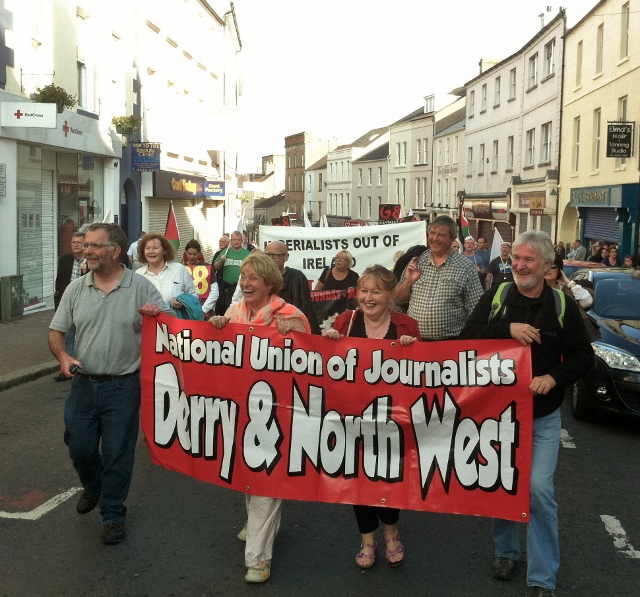NUJ Derry & North West Branch taking part in protest