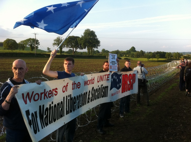 IRSP protestors at G8 security cordon