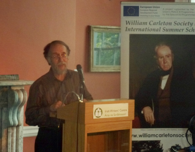 William Carleton Society President Jack Johnston talking about Carleton