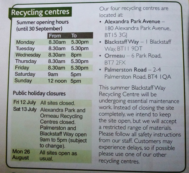 Belfast City Council Recycling Centres