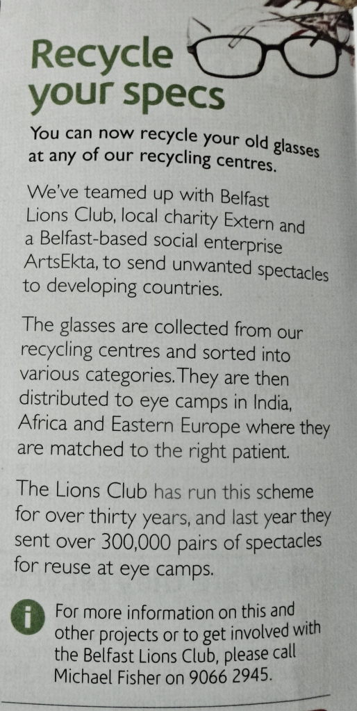 Belfast Lions Club: Recycle your Spectacles