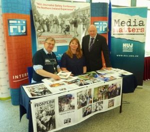 NUJ Belfast & District Vice Chair Michael Fisher with NUJ General Secretary Michelle Stanistreet & Irish Secretary Seamus Dooley