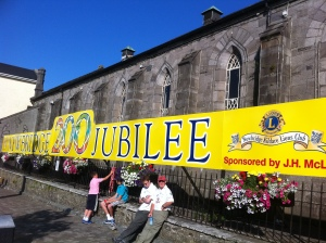Banner at Newbridge  Town Hall (former garrison church)