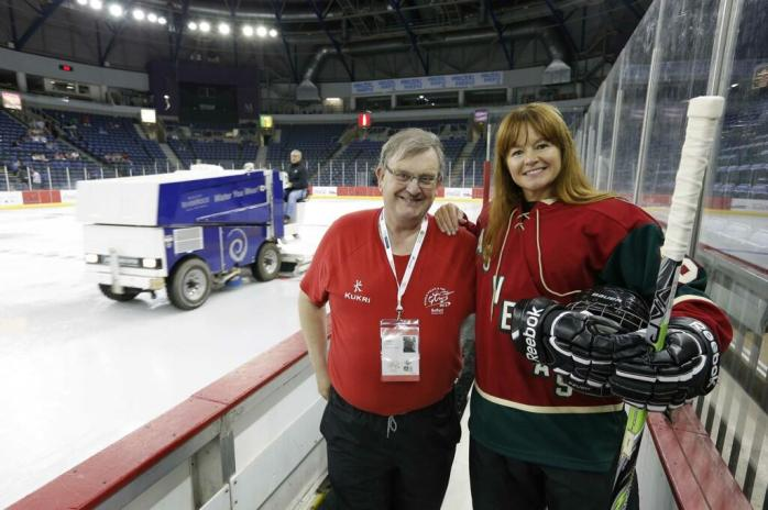 WPFG Volunteer Michael Fisher with Kim Harper, Las Vegas Guns & Hoses at the Odyssey Arena July 2013  Picture: © Kelvin Boyes, Press Eye