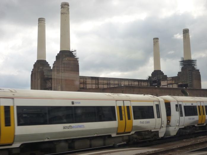 Former Battersea Power Station beside railway line & River Thames, London