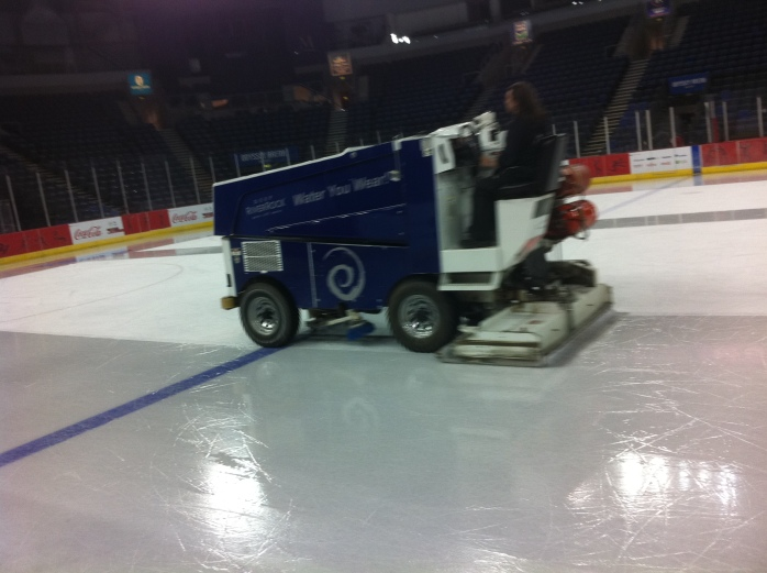 Zamboni machine resurfaces the ice after every second period: Photo © Michael Fisher
