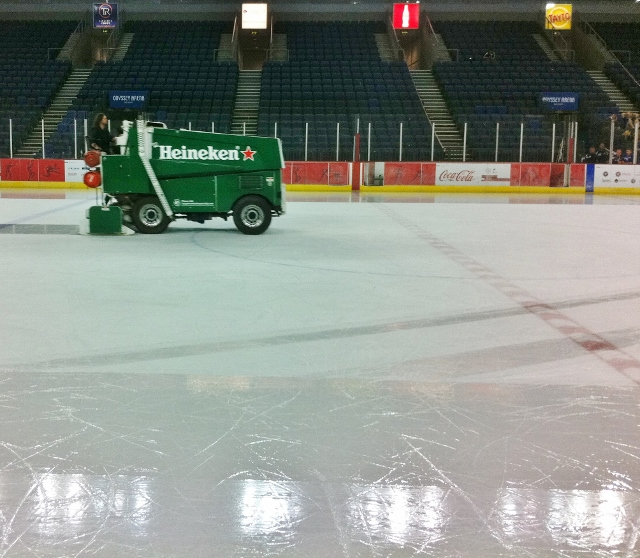 Zamboni machine resurfaces the ice after every second period