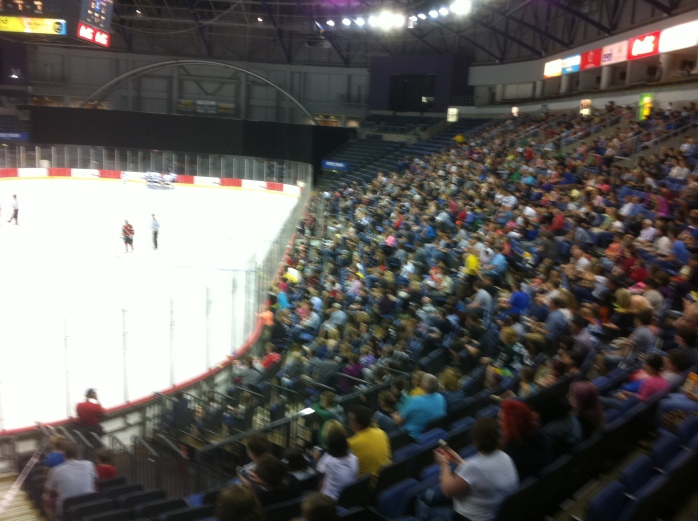 Good crowd at the Odyssey Arena for the ice hockey