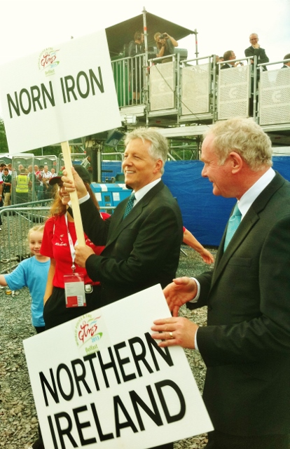 First Minister Peter Robinson & deputy First Minister Martin McGuinness show their support for the NI competitors