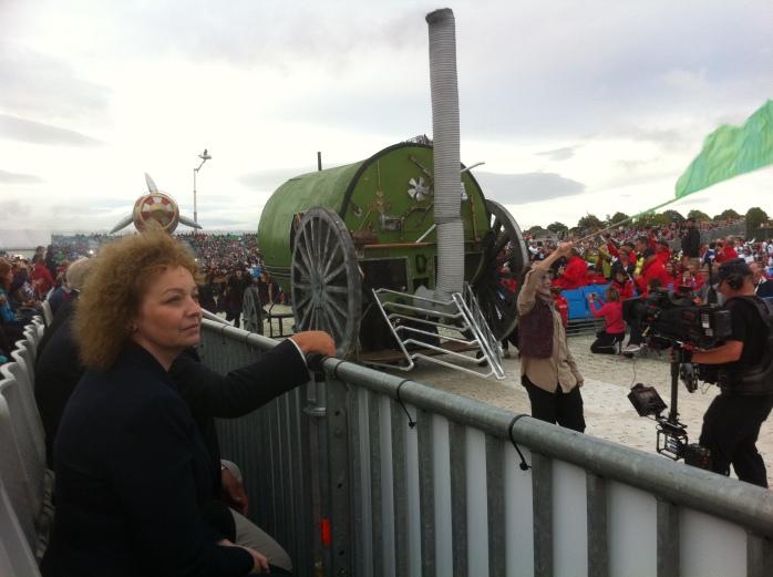 Northern Ireland Culture Minister Carál Ní Chuilín watches the pageant