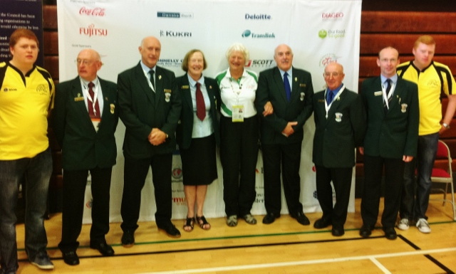 Games Patron Dame Mary Peters with table tennis officials