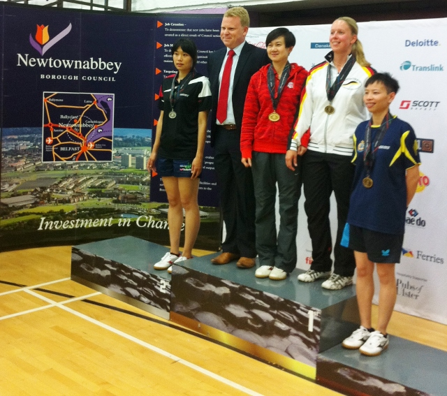 Women's singles medals presented by East Antrim MLA Alastair Ross