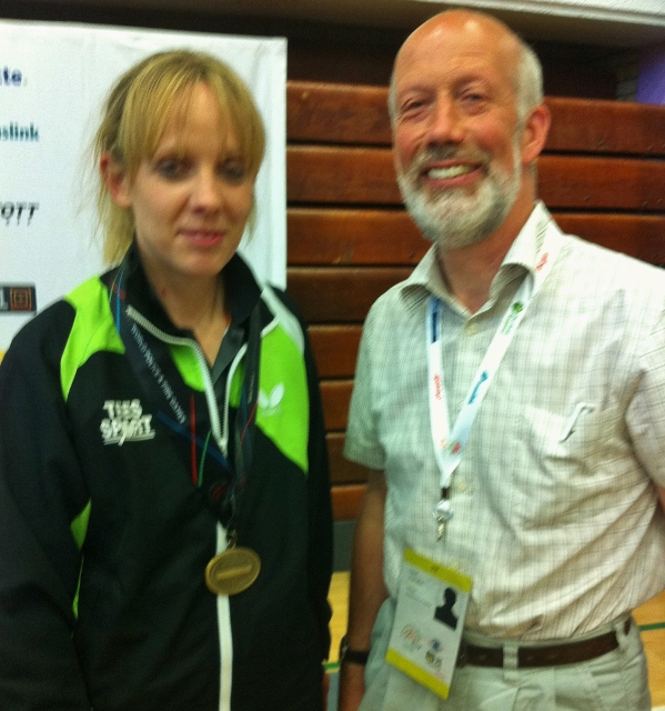 Womens Doubles bronze medallist Garda Louise Long & NI Justice Minister David Ford