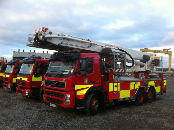 NIFRS aerial ladder platform at Titanic slipway