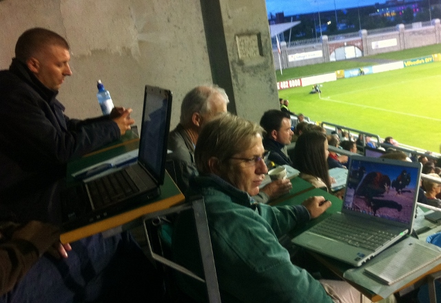 Shamrock Rovers manager Trevor Croly watched the match from the stand