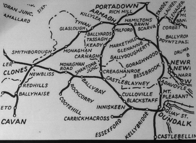 Map showing former railway network in Co. Monaghan