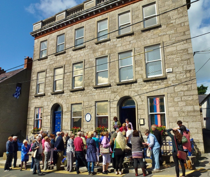Walking tour of Monaghan town led by Grace Moloney and Theresa Loftus assembles at Monaghan County Museum, Hill Street. Photo:  © Michael Fisher