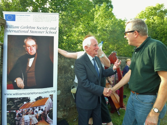 Seamus McCluskey, Emyvale greets Professor Thomas O'Grady at the Blue Bridge, Emyvale