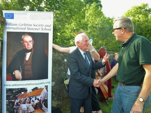 Seamus McCluskey, Emyvale greets Professor Thomas O'Grady at the Blue Bridge, Emyvale