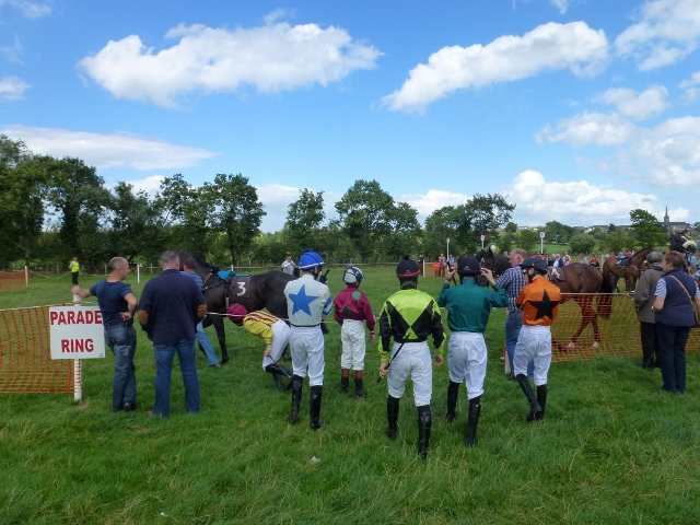 Jockeys line up for second race at Aughnacloy Races Photo: © Michael Fisher