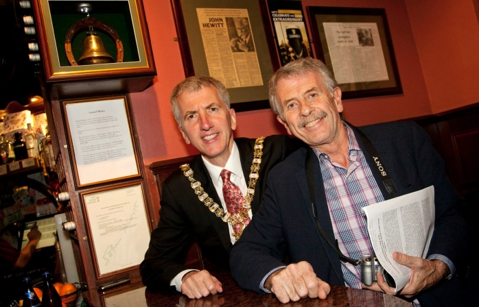 Belfast Lord Mayor Máirtín Ó Muilleoir & Brian Bingham at unveiling of bell at John Hewitt Bar Photo: © Kevin Cooper Photoline
