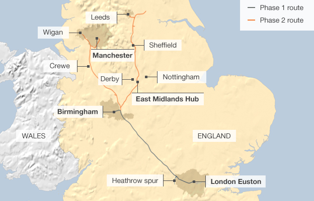 HS2 Route Map: BBC News