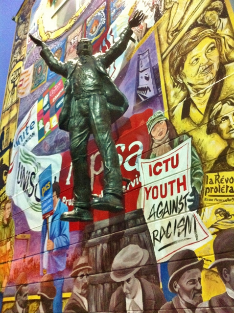 New ICTU Mural Belfast complementing statue of Jim Larkin Photo: © Michael Fisher