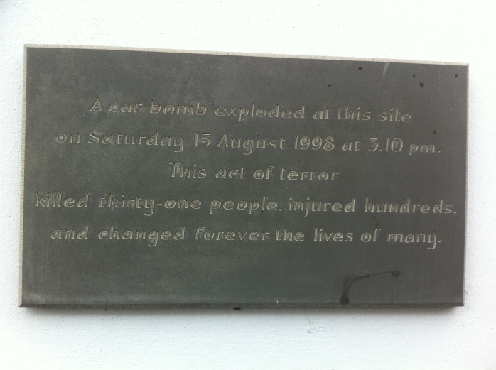 Plaque at site of car bomb, Market Street, Omagh Photo: © Michael Fisher