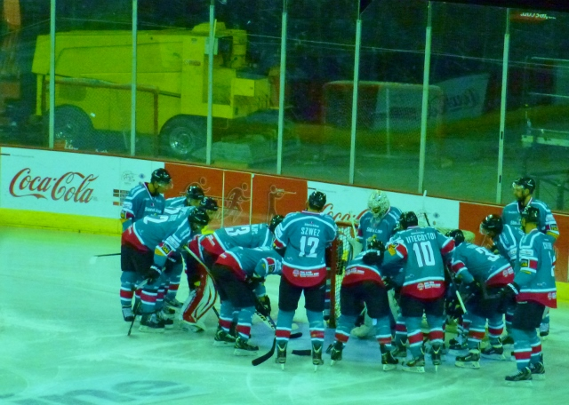 Belfast Giants huddle before game