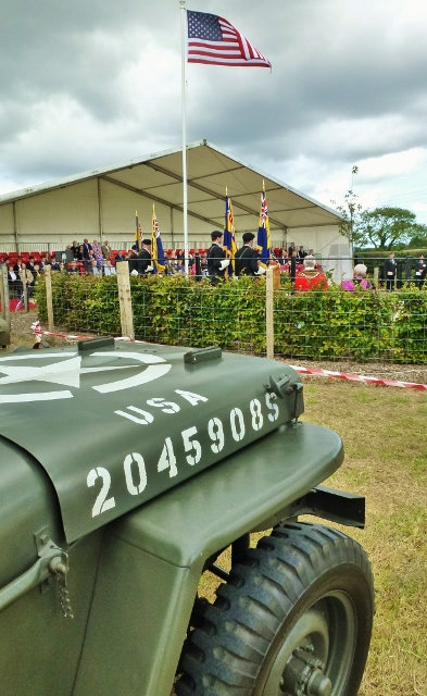 WWII US jeep at the ceremony at Lisnabreeny Photo: © Michael Fisher