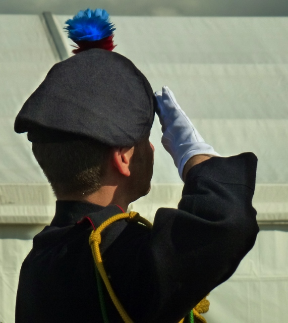Salute by a member of 152 (Ulster) Transport Regiment Band RLC  Photo: © Michael Fisher