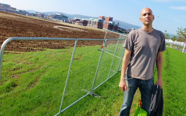 Jorge Rodriguez-Gerada at his land-art project at Titanic Quarter Photo: © Michael Fisher