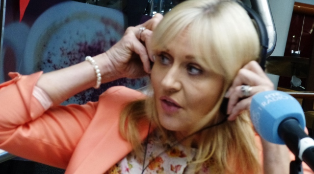 Miriam O'Callaghan prepares to go on air with The John Murray Show at Connolly Station Photo: © Michael Fisher
