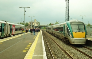 RTÉ Music Train waits at Newbridge Station with regular interCity service to Heuston  Photo: © Michael Fisher